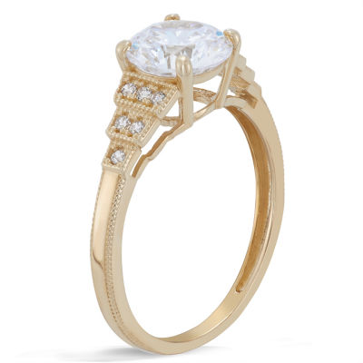 Diamonart Womens 1 7/8 CT. T.W. Lab Created Round White Cubic Zirconia 10K Gold Engagement Ring