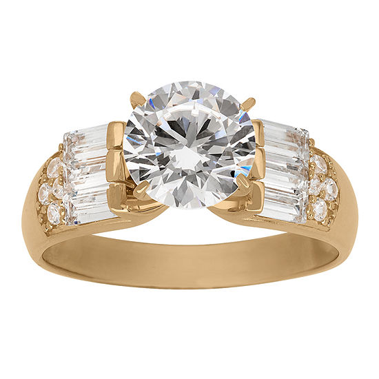 DiamonArt® Womens 3 CT. T.W. Lab Created White Cubic Zirconia 10K Gold Engagement Ring