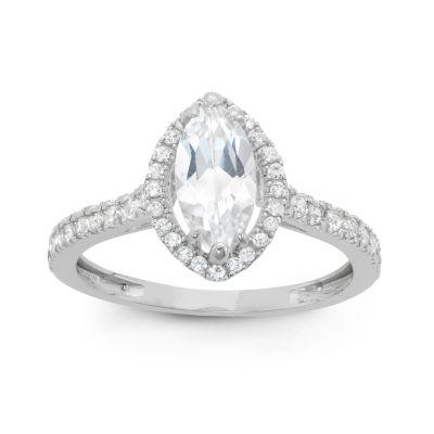 Diamonart Womens 1 1/2 CT. T.W. Lab Created White Cubic Zirconia 10K Gold Engagement Ring