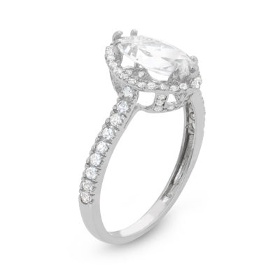 Diamonart Womens 1 1/2 CT. T.W. Lab Created Marquise White Cubic Zirconia 10K Gold Engagement Ring