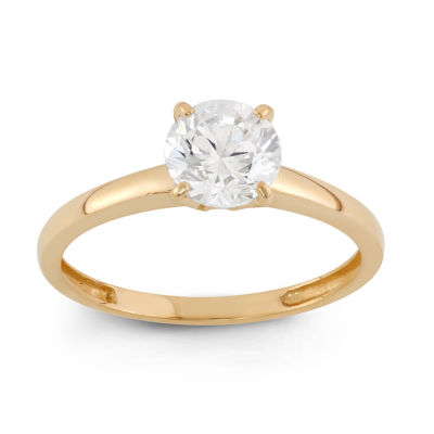 Diamonart Womens 1 CT. T.W. Lab Created Round White Cubic Zirconia 10K Gold Engagement Ring