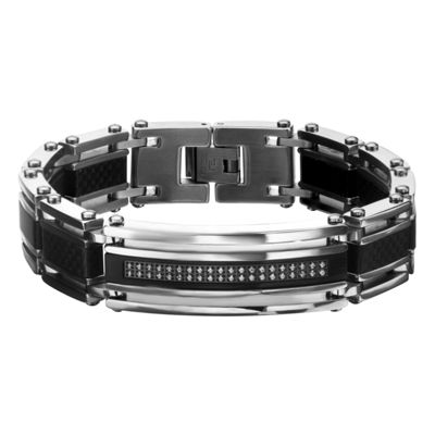 Mens 8 1/2 Inch Clear Cubic Zirconia Stainless Steel Link Bracelet