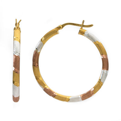 14K GOLD OVER SILVER 36.4mm Hoop Earrings