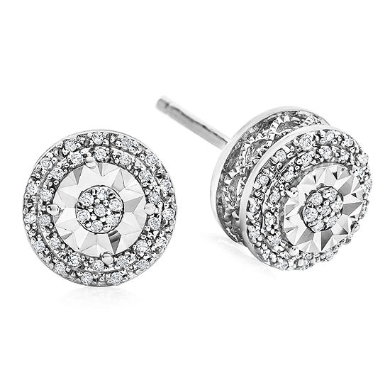 1/10 CT. T.W. Double Halo Diamond Stud Earrings in Sterling Silver