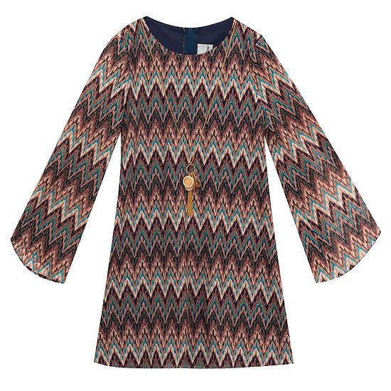 Rare Editions Girls Long Sleeve Shift Dress - Preschool