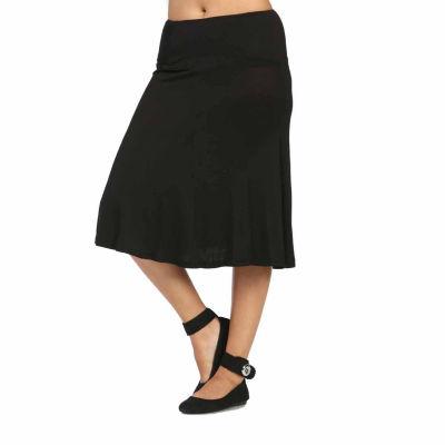 24/7 Comfort Apparel Calf Length Womens A-Line Skirt
