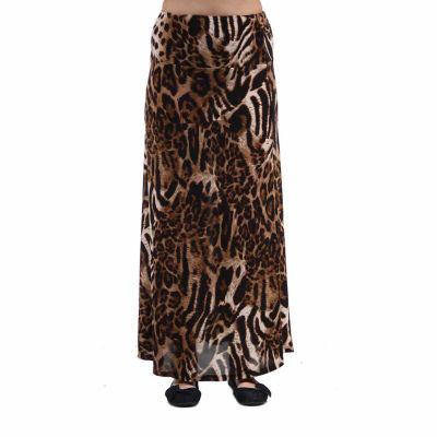 24/7 Comfort Apparel Chocolate Polka Dot Printed Maxi Skirt