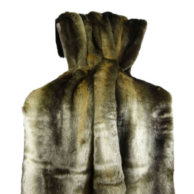 Plutus Tissavel Volga Rabbit Faux Fur Handmade Throw Blanket