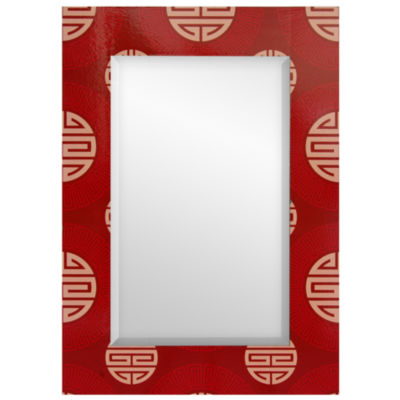 Oriental Furniture Shou Rectangular Wall Mirror