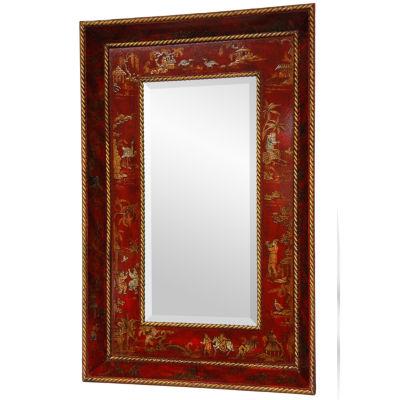 Oriental Furniture Hand-Painted Ming Art Motif Wall Mirror