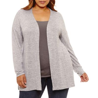Boutique + Long Sleeve Cardigan-Plus