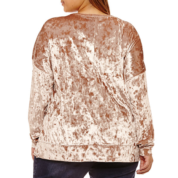 Boutique + Long Sleeve Velvet Sweatshirt-Plus