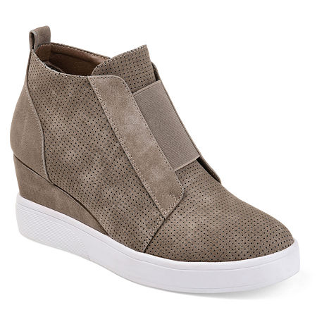 Journee Collection Womens Clara Wedge Sneaker, 12 Medium, Beige