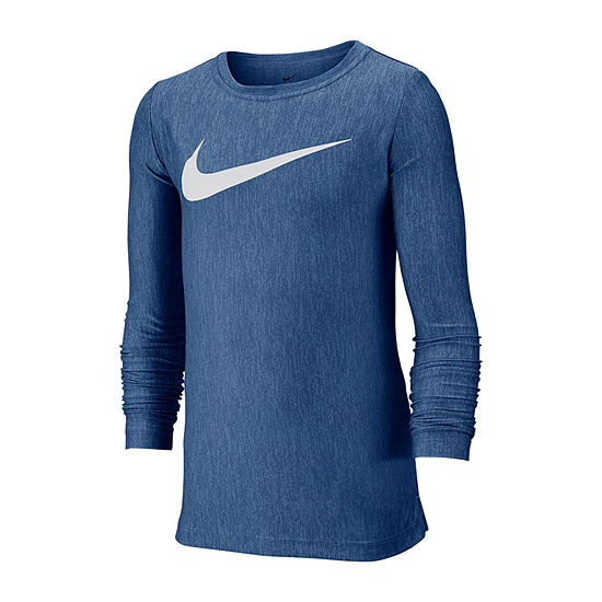 Nike Boys Crew Neck Long Sleeve Dri-Fit Graphic T-Shirt - Big Kid