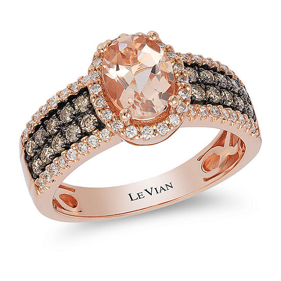 LIMITED QUANTITIES Le Vian Grand Sample Sale™ Peach Morganite™ and 1/2 CT. T.W. Vanilla & Chocolate Diamonds™ 14K Strawberry Gold® Ring