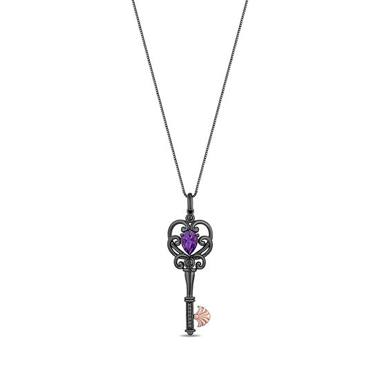 Enchanted Disney Fine Jewelry Villains Womens 1/10 CT. T.W. Genuine Purple Amethyst 14K Rose Gold Over Silver Keys The Little Mermaid Pendant