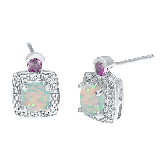 Diamond Accent Lab Created White Opal Sterling Silver 11mm Stud Earrings
