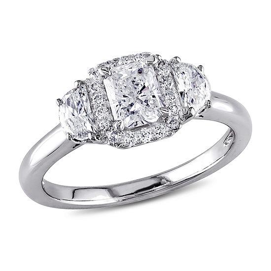 1 Ct Tw Diamond 14k White Gold 3 Stone Ring