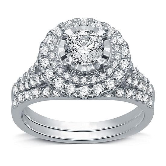 Modern Bride Signature Womens 1 3/4 CT. T.W. Genuine White Diamond 14K White Gold Engagement Ring