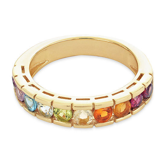 Womens 23.MM Genuine Multi Color Stone 18K Gold Over Silver Band