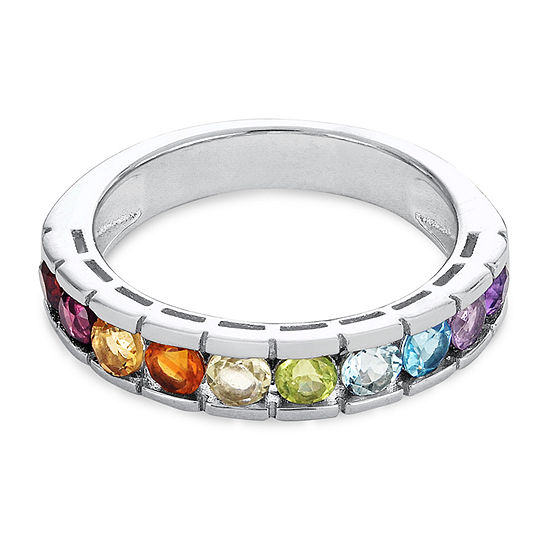 23.MM Genuine Multi Color Stone Sterling Silver Band