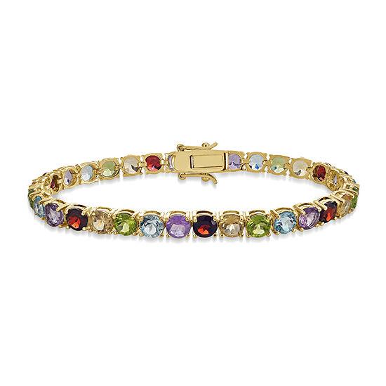 Genuine Multi Color Stone 18K Gold Over Silver 7 Inch Tennis Bracelet