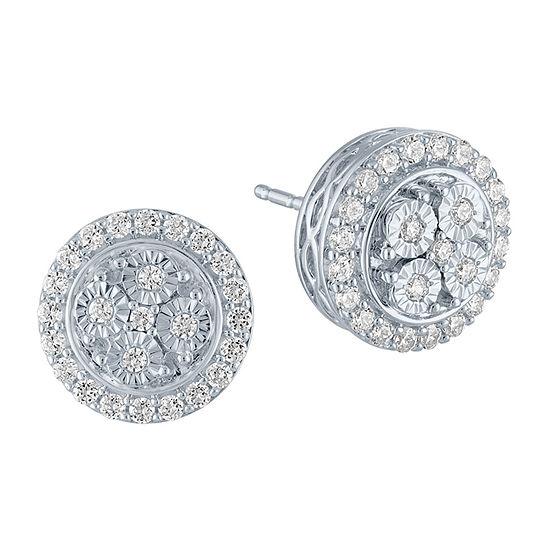 1/2 CT. T.W. Genuine Diamond Sterling Silver 11.5mm Stud Earrings
