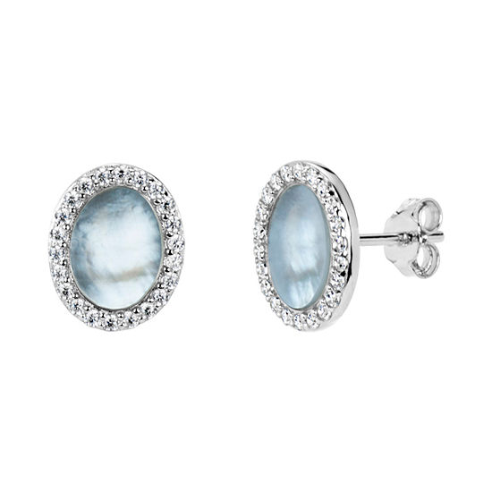 White Mother Of Pearl Sterling Silver 11mm Oval Stud Earrings