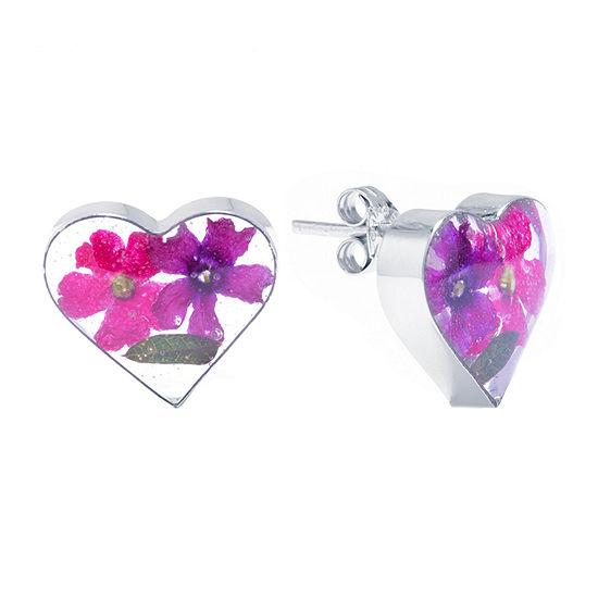 Everlasting Flower Sterling Silver 13.4mm Heart Stud Earrings