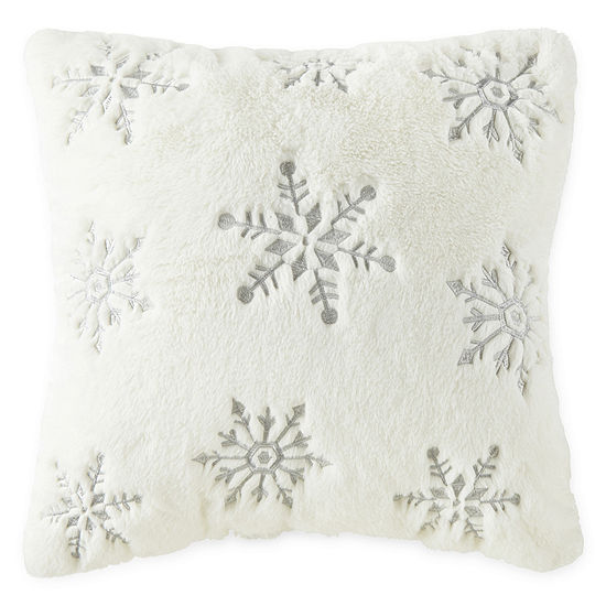 North Pole Trading Co. Snowflake Faux Fur Square Throw Pillow