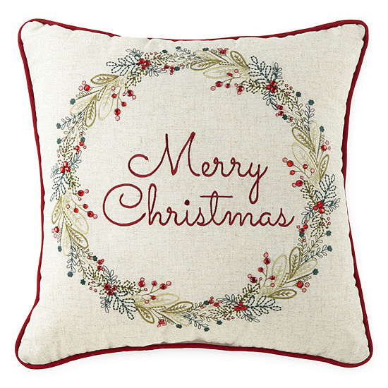 North Pole Trading Co. Season's Greetings Square Throw Pillow