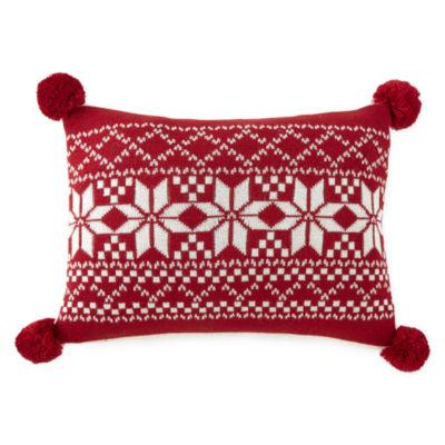 North Pole Trading Co. Fair Isle Knit Rectangular Throw Pillow