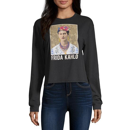 Womens Crew Neck Long Sleeve Graphic T-Shirt-Juniors