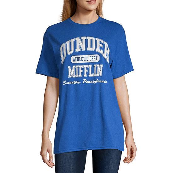 New World-Juniors Womens Crew Neck Short Sleeve Graphic T-Shirt