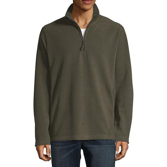 St. John's Bay Mens Mock Neck Long Sleeve Quarter-Zip Pullover