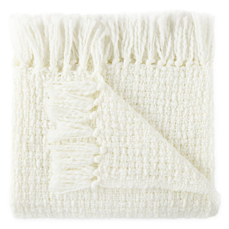 JCPenney Home Boucle Throw, One Size , White