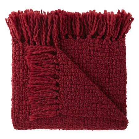 JCPenney Home Boucle Throw, One Size , Red