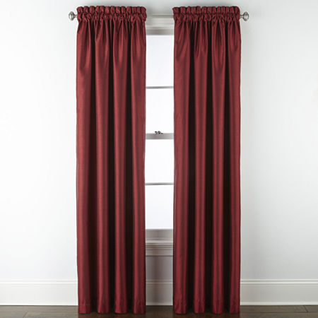 JCPenney Home Malone Blackout Rod-Pocket Single Curtain Panel, One Size , Red