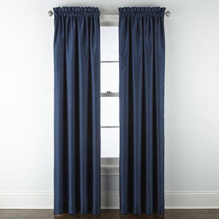 JCPenney Home Malone Blackout Rod-Pocket Single Curtain Panel, One Size , Blue