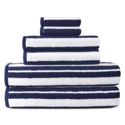 JCPenney Home Yarn Dye Stripe Striped Bath Towel