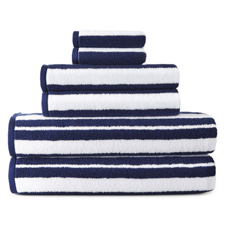 JCPenney Home Striped Bath Towel, One Size , Blue