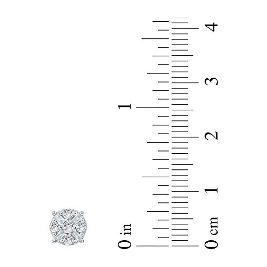 1/2 CT. T.W. Genuine White Diamond 10K Gold 6.4mm Stud Earrings