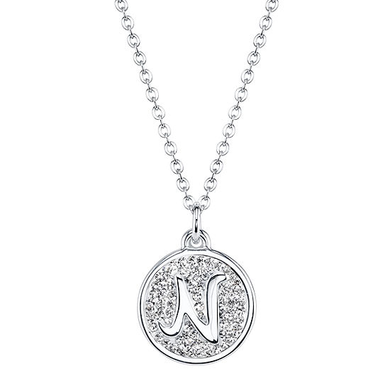 Sparkle Allure Crystal 18 Inch Cable Letter N Initial Pendant Necklace