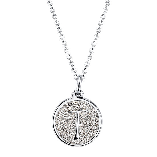 Sparkle Allure Crystal 18 Inch Cable Pendant Initial Letter Necklace