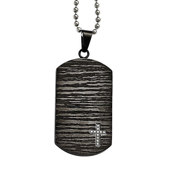 Mens 1/10 CT. T.W. Genuine White Diamond Stainless Steel Dog Tag Pendant Necklace