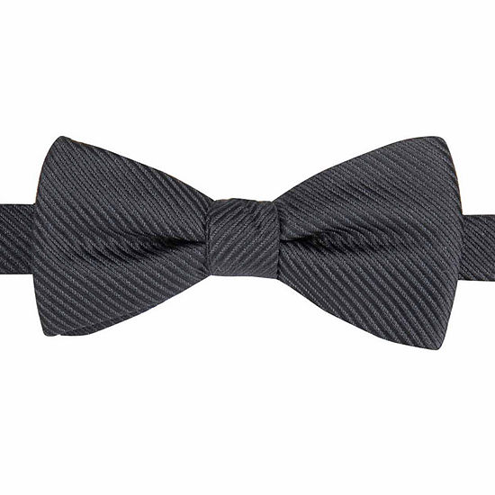 JF J. Ferrar® Textured Satin Striped Pre-Tied Bow Tie