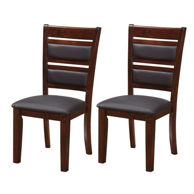 Chocolate Brown Bonded Leather Dining Chairs- Setof 2