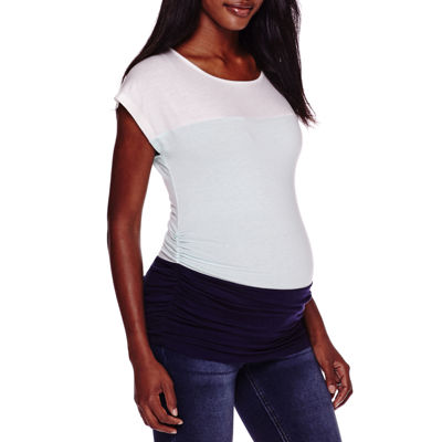 Maternity Short-Sleeve Colorblock Shirt - Plus