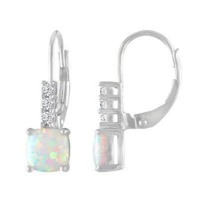 Lab Created White Opal Sterling Silver Drop Earrings