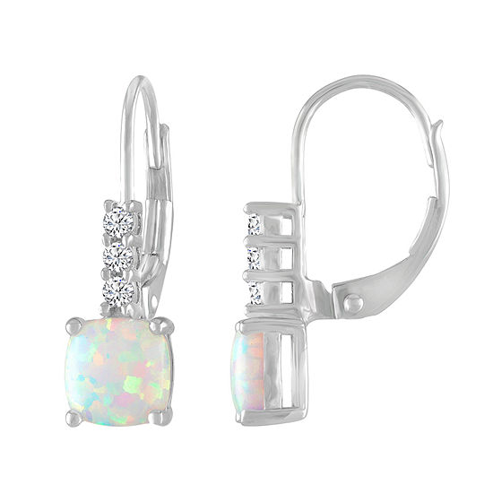 Lab Created White Opal Sterling Silver Drop Earrings